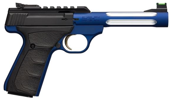 "Picture of Browning Buck Mark Blue Flute Lite Rimfire Semi-Auto Pistol - 22 LR, 5-1/2"", Steel w/Aluminum Alloy Sleeved w/Deep Flutes Barrel, Blue Aluminum Alloy Receiver, Ultragrip FX Ambidextrous Black Rubber Overmolding Grip, 10rds, Fiber Optic Front & Pro-Target"