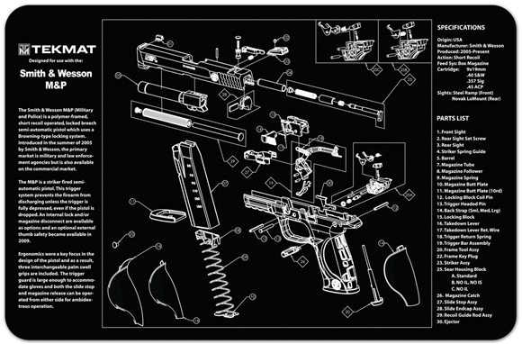 Picture of Tekmat Smith & Wesson M&P Gunsmith's Bench Mat - Black Neoprene, with Exploded Parts View