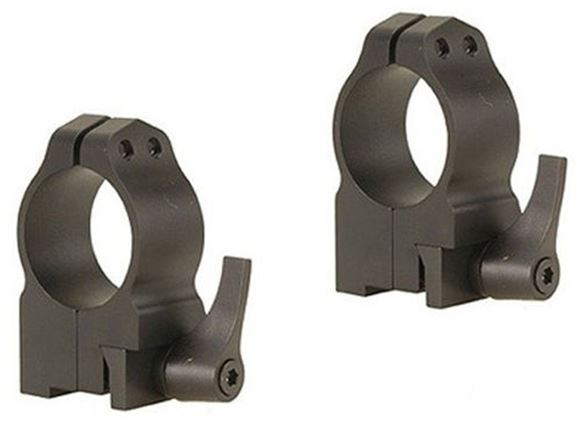 """Picture of Warne Scope Mounts Rings, CZ - For CZ 550 (19mm Dovetail), 1"""", Quick Detach, High (.535""""), Matte"""