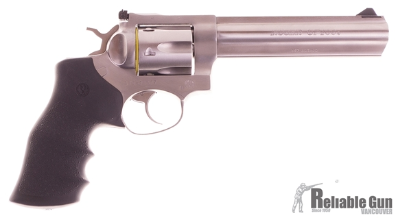 "Picture of Pre Owned Ruger GP100 DA/SA Revolver - 357 Mag, 6"", Satin Stainless, Stainless Steel, Hogue Monogrip Grips, 6rds, Ramp Front & Adjustable Rear Sights, Original Box New Condition"
