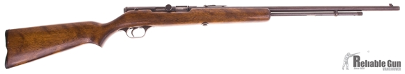 Picture of Used Springfield 87A Semi Auto 22LR, Tube Feed, Wood Stock, ''Grille Gun'', 24'' Barrel, Broken Plastic Butt Plate, Fair Condition