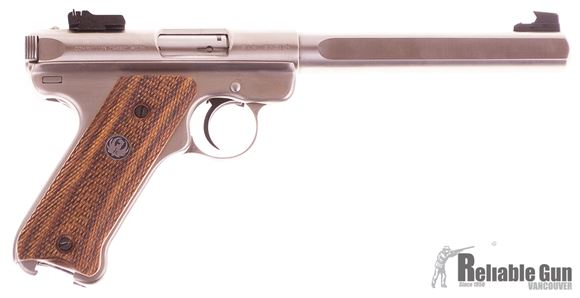 """Picture of Used Ruger Mark II Competition Target Rimfire Semi-Auto Pistol - 22 LR, 6-7/8"""", Slab-Sided Bull Barrel, Satin Stainless Steel, Checkered Cocobolo w/Thrmbrest Grips, 3 Magazines, Fixed Front & Adjustable Rear Sights, Original Box, Excellent Condition Unfi"""