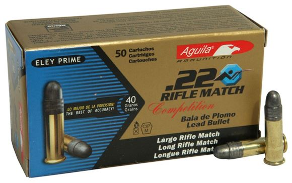 Picture of Aguila Rimfire Ammo - 22 LR, 40Gr, Lead, 500rds Brick, Rifle Match Competition, 1080 Fps