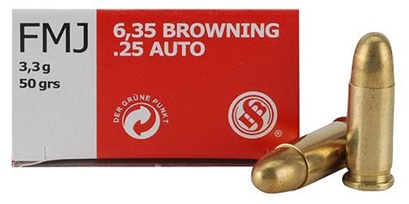 Picture of Sellier & Bellot Pistol & Revolver Ammo - 6.35mm Browning (25 Auto), 50Gr, FMJ, 50rds Box