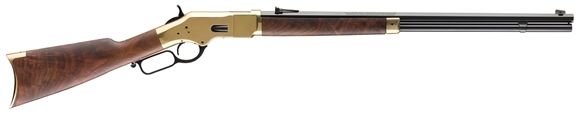 """Picture of Winchester Model 1866 Deluxe Lever Action Rifle - .44-40, 24"""" Octagon Barrel, Brushed Polish Finish, Brass Receiver, Grade V/VI Satin Oil Finish Black Walnut Stock, 14rds"""
