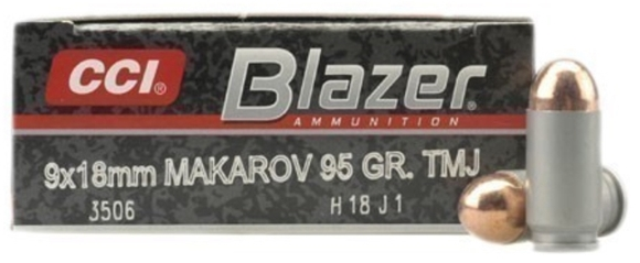 Picture of CCI Blazer Handgun Ammo - 9x18mm Makarov, 95Gr, FMJ RN, 50rds Box