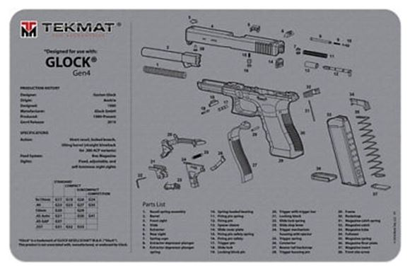 Picture of Tekmat Glock Gen 4 Gunsmith's Bench Mat - Grey Neoprene, with Exploded Parts View