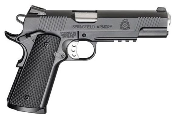 """Picture of Springfield Armory 1911 Loaded Operator Single Action Semi-Auto Pistol - 45 ACP, 5"""" Stainless Match Barrel, Black Armory Kote, Black G-10 Grips, 2x8rds, Trijicon Tritium Night Sights, Rail, Ambi Safety"""