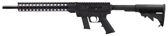 """Picture of Just Right Carbines (JR Carbine) Glock Mag, Key Mod Semi-Auto Carbine - 9mm, 18.6"""", Black, 13"""", Key Mod Handguard, 6061T-6 Aluminum w/Black Hardcoat Anodizing Receiver, Telescoping 6-Position Collapsible M-4 Style Buttstock, Glock Mag, 10rds"""