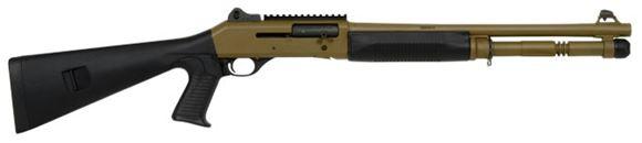 "Picture of Benelli M4 Tactical Semi Auto Shotgun - 12ga, 3"", 18.5"", Flat Dark Earth Cerakote, Black Synthetic Pistol Grip Stock, 5rds"