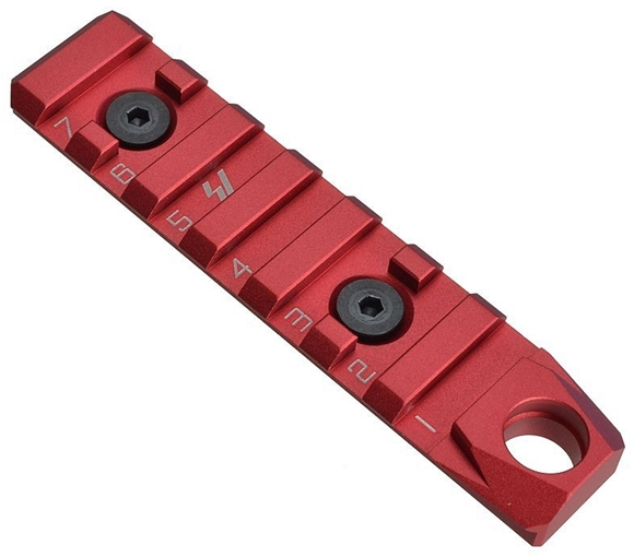 Picture of Strike Industries 7 Slot Keymod / M-Lok Dual Use Rail Section with QD (RED)