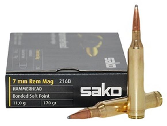 Picture of Sako Rifle Ammo - 7mm Rem Mag, 170Gr, Hammerhead Bonded Soft Point (216B), 10rds Box