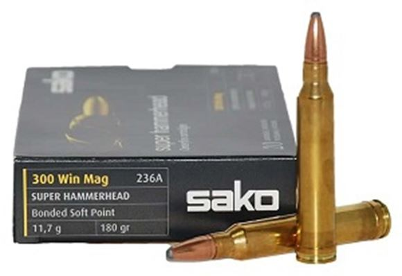 Picture of Sako Rifle Ammo - 300 Win Mag, 180Gr, Super Hammerhead Bonded Soft Point (236A), 10rds Box