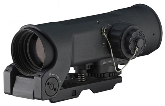 Picture of Raytheon ELCAN Optical Combat Sights - SpecterOS 4x, 5.56 Caliber CX5755 dual illuminated ballistic chevron reticle, 1 MOA Click Value, Waterproof 66 ft For 2 Hours & Shockproof 450 G's, DL 1/3 N / 300 Hours @ Max Brightness, Black Anodized