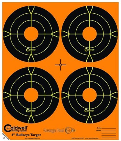 "Picture of Caldwell Shooting Supplies Paper Targets - Orange Peel Bullseye Targets, 4"", Orange, Adhesive-Backed, Featuring Dual-Color Flake-Off Technology, 25 Sheet Pack"