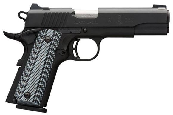 "Picture of Browning 1911-380 Black Label Pro Single Action Semi-Auto Pistol - 380 ACP, 4-1/4"", Matte Black Steel Slide, Matte Black Composite Frame, Grooved G-10 Composite, 8rds, Combat Whtie Dot Front & Rear Sights, Extended Ambi Safety, Skeletonized Hammer"