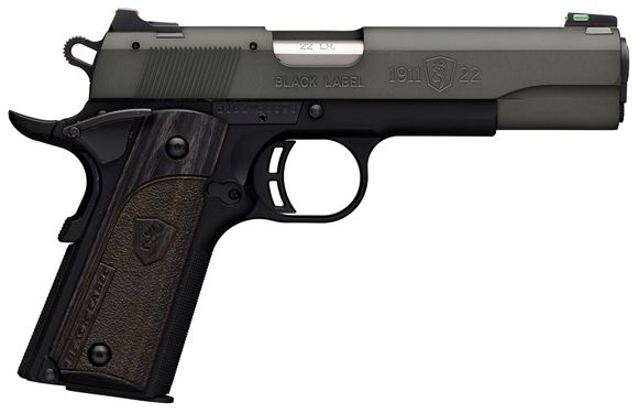 """Picture of Browning 1911-22 Black Label Gray Rimfire Single Action Semi-Auto Pistol - 22 LR, 4-1/4"""",Gray Anodized Finish Brush Polished Flats Machined Aluminum Slide, Black Composite Frame w/ Checkered Front Strap, 10rds, Combat Fiber Optic Sights"""