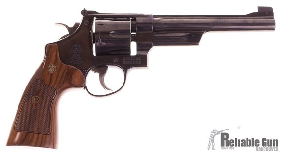 """Picture of Used Smith & Wesson (S&W) Classic Model 27 DA/SA Revolver - 357 S&W, 6-1/2"""", Bright Blued Carbon Steel, Large Frame (N), Checkered Square Butt Walnut Grip, 6rds, Pinned Patridge Front & Micro Adjustable w/Cross Serrations Rear Sights"""