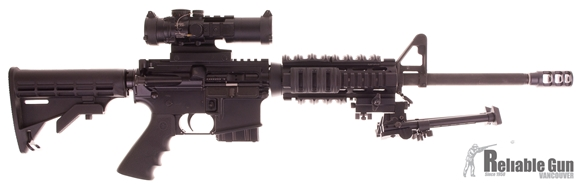 """Picture of Used Bushmaster XM15-E2S Semi-Auto 5.56mm, 16"""" Barrel, With Burris AR332 Scope, Quad Rail, Bipod, Muzzle Brake, Good Condition"""