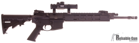 """Picture of Used Ruger SR556 Semi-Auto 5.56mm, 16"""" Barrel, Short-Stroke Piston, With Bushnell Trophy Red Dot, 2 Mags, Good Condition"""
