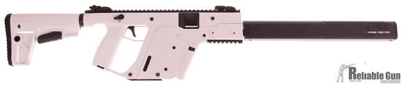 """Picture of Used KRISS Vector Gen II CRB Alpine Semi-Auto Carbine - 9mm, 18.6"""", w/Square Enhanced Black Shroud, Alpine White, M4 Stock Adaptor w/Defiance M4 Stock, 10rds, Flip Up Front & Rear Sights, Excelent Condition."""