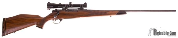 """Picture of Used Weatherby Mark V Deluxe Bolt-Action 300 Wby Mag, 26"""" Barrel, With Redfield 2-7x20mm Scope, Very Good Condition"""