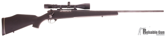 "Picture of Used Weatherby Mark V Bolt-Action 340 Wby Mag, 26"" Barrel, Synthetic Stock, With Redfield 3-9x40mm Scope, Good Condition"