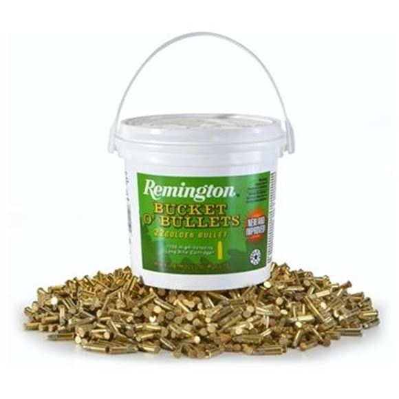 Picture of Remington Rimfire Ammo - Bucket O'Bullets 22 Golden Bullet, 22 LR, 36Gr, Plated HP, 5600rds Case, 1280fps