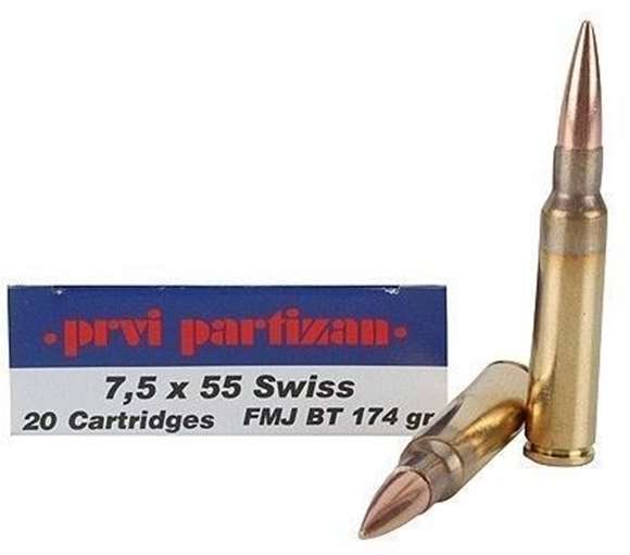 Picture of Prvi Partizan (PPU) Rifle Ammo - 7.5x55mm Swiss, 174Gr, FMJ BT, 20rds Box