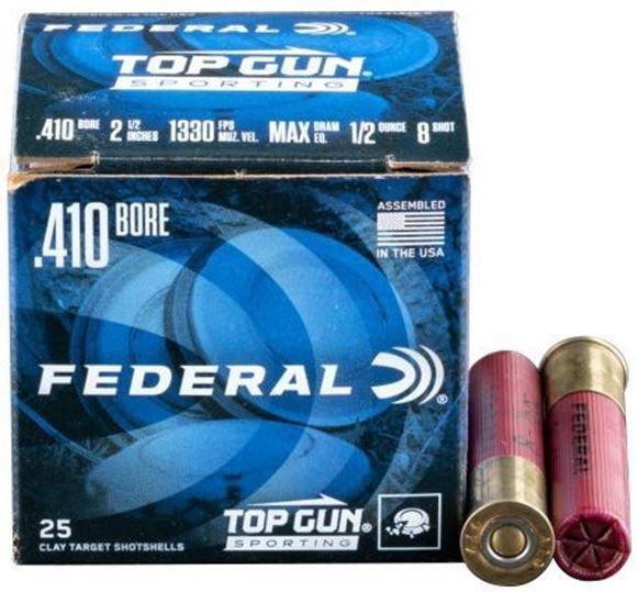 Picture of Federal Top Gun Sporting Clay Shotgun Ammo - 410 ga, 2-1/2, Max DE, 1/2 oz., #8, 250rds Case