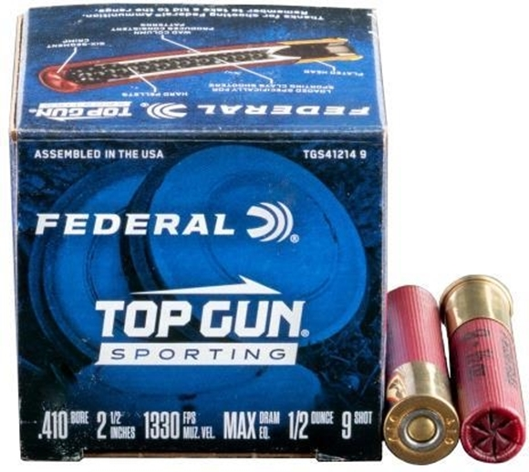 Picture of Federal Top Gun Sporting Clay Shotgun Ammo - 410 ga, 2-1/2, Max DE, 1/2 oz., #9, 250rds Case