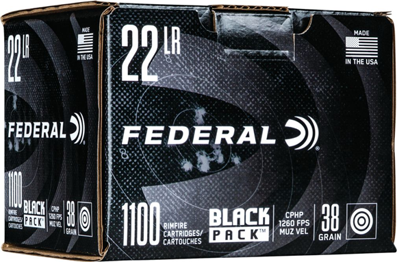 Picture of Federal Black Pack Rimfire Rifle Ammo - 22 LR, 38 gr, CPHP, 1260fps, 4400rds Case