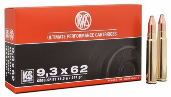 Picture of RWS Rottweil Kegelspitz Hunting Rifle Ammo - 9.3x62mm, 247Gr, Cone Point, 20rds Box