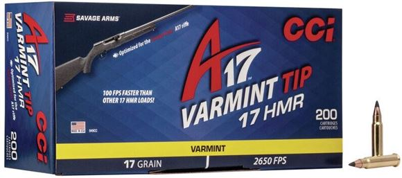 Picture of CCI Varmint Tip Rimfire Ammo - 17 HMR, 17Gr, Optimized for A17 Savage, 200rds Box, 2650fps