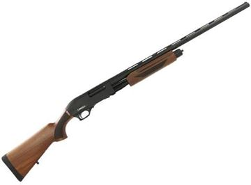 """Picture of Canuck Pioneer Pump Action Shotgun - 12ga, 3"""", 28"""", Chrome Lined, Vented Rib, Fiber Optic Front Sight, Wood Stock, 4rds, Mobil Choke Flush (F,M,IC)"""