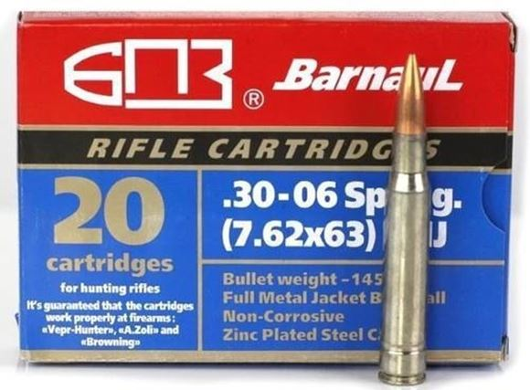 Picture of BarnauL Rifle Ammo - 30-06 Sprg (7.62x63mm), 168Gr, FMJ, Zinc Plated Steel Case, Non-Corrosive, 500rds Case