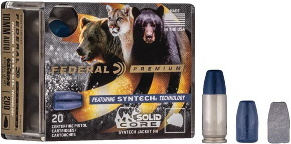 Picture of Federal Premium Syntech Pistol Ammo - 9mm Luger +P, 147gr, Syntech Jacket Lead FN, Solid Core, 20rds box